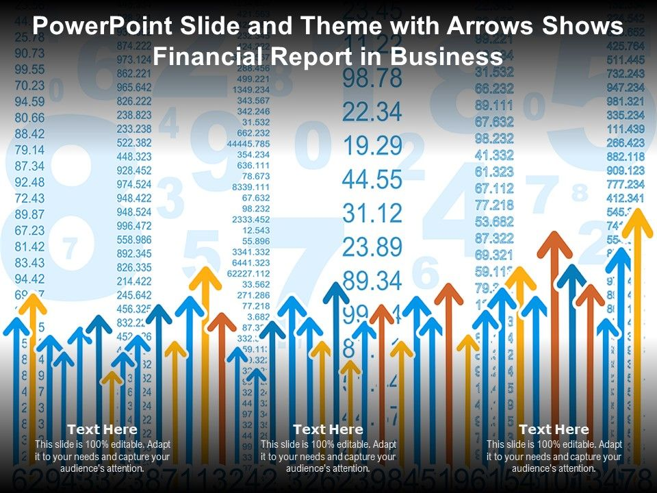 Powerpoint Slide And Theme With Arrows Shows Financial Report In Business