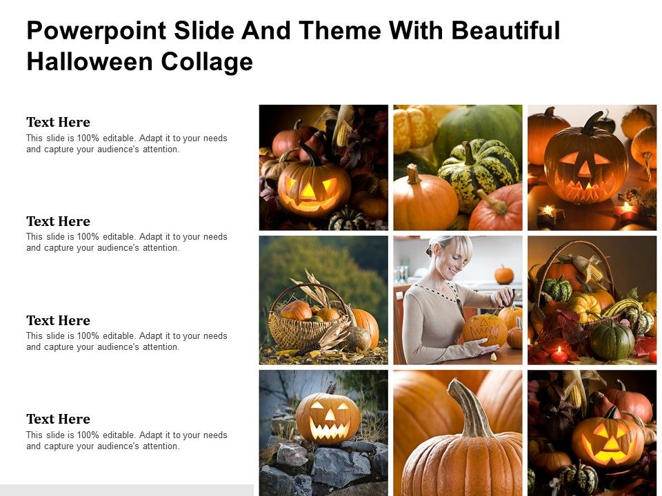 Powerpoint Slide And Theme With Beautiful Halloween Collage