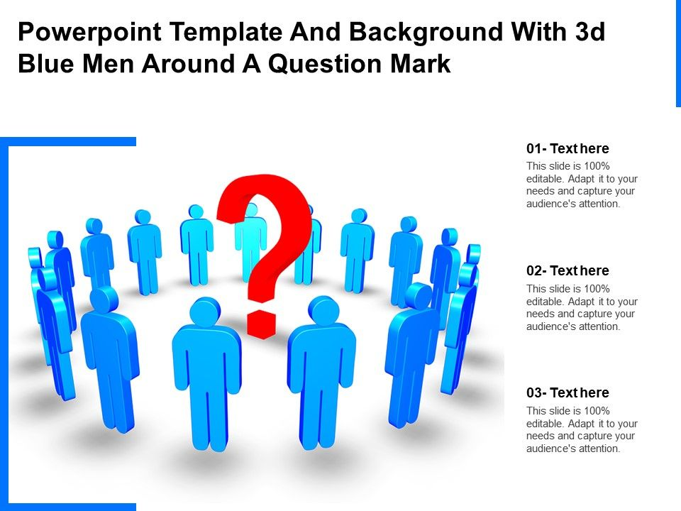 Powerpoint Template And Background With 3d Blue Men Around A Question Mark