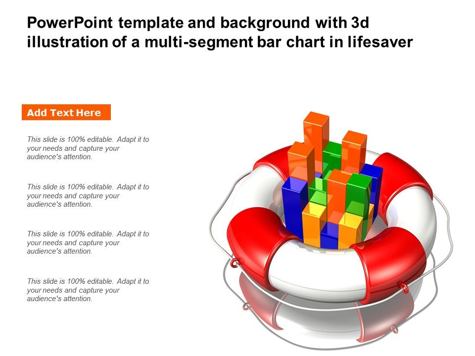 Powerpoint Template And Background With 3d Illustration Of A Multi Segment Bar Chart In Lifesaver