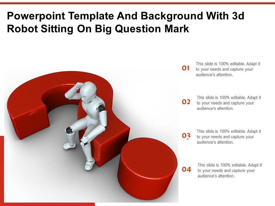Powerpoint Template And Background With 3d Robot Sitting On Big Question Mark