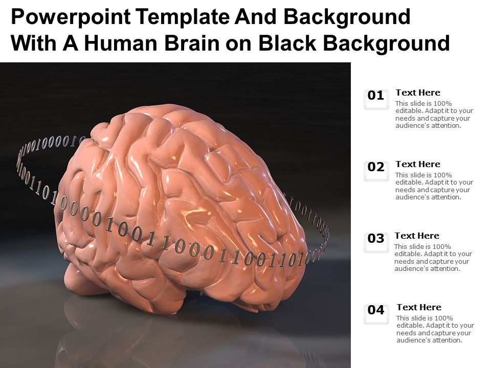 Powerpoint Template And Background With A Human Brain On Black Background
