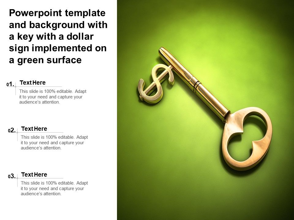 Powerpoint Template And Background With A Key With A Dollar Sign Implemented On A Green Surface