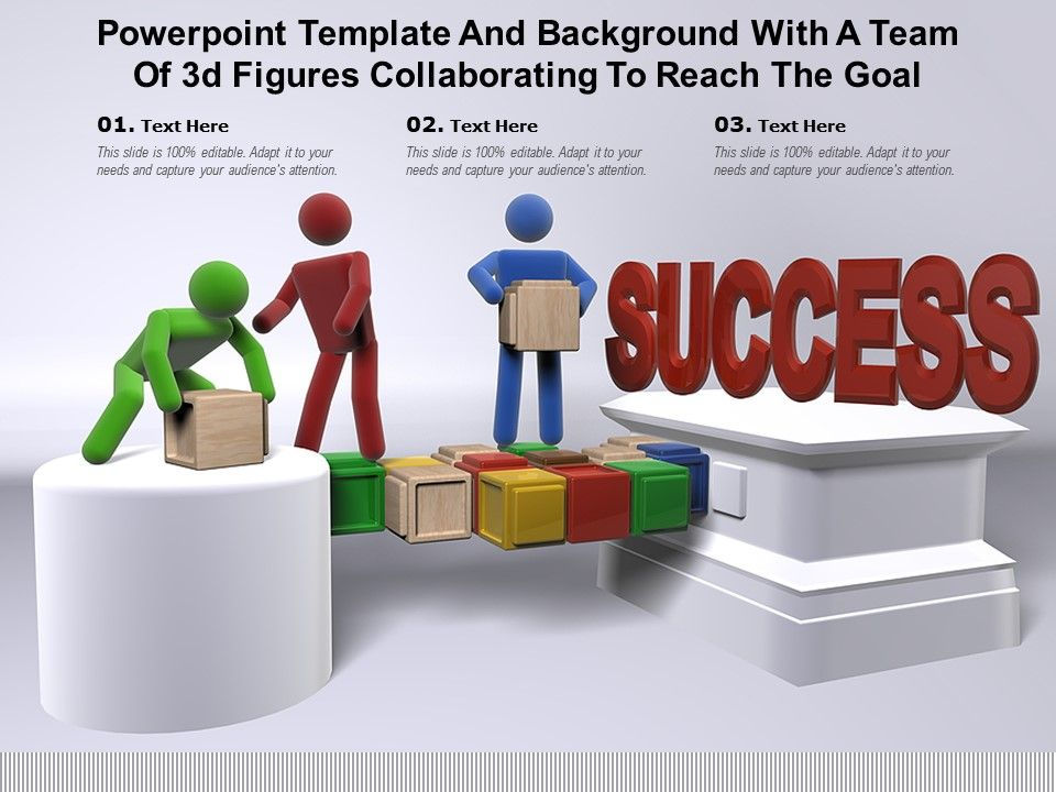 Powerpoint Template And Background With A Team Of 3d Figures Collaborating To Reach The Goal