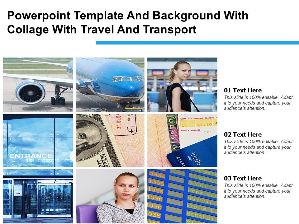 Powerpoint Template And Background With Collage With Travel And Transport