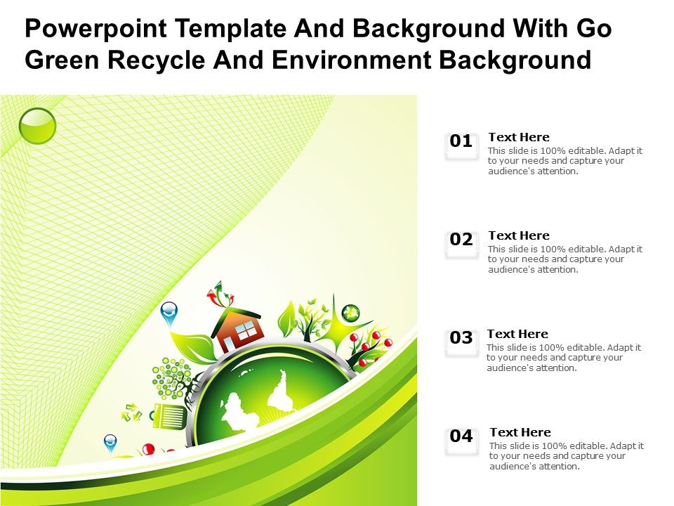Powerpoint Template And Background With Go Green Recycle And Environment Background