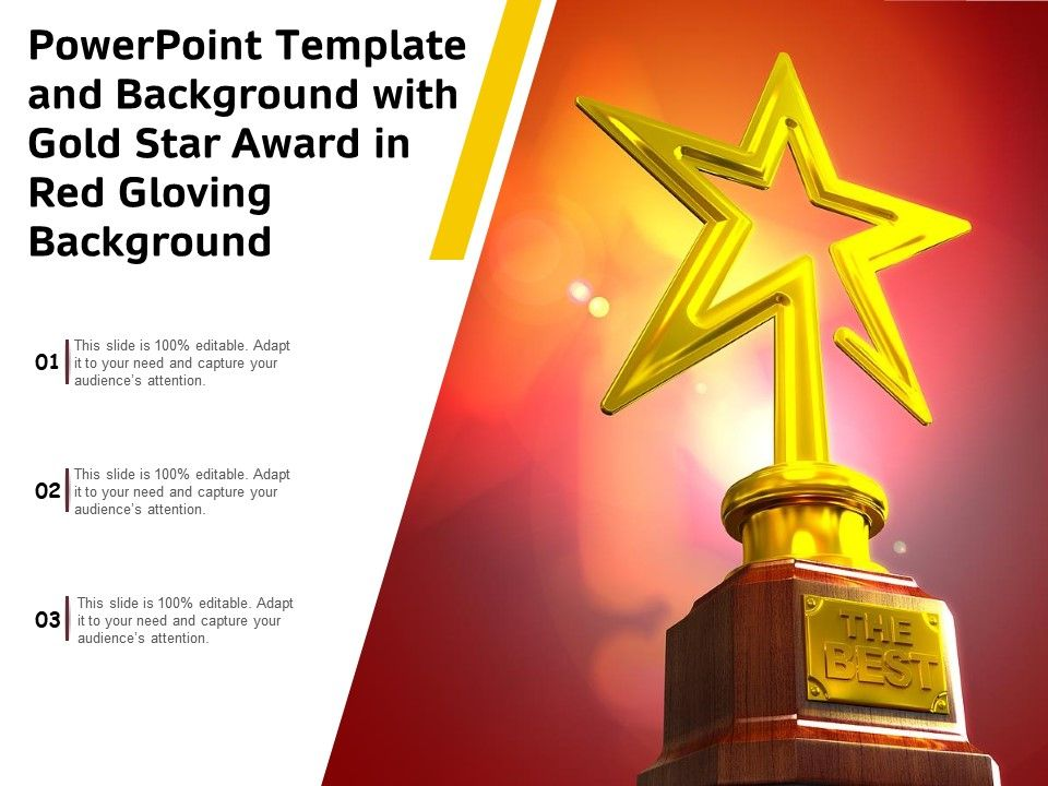 Powerpoint Template And Background With Gold Star Award In Red Gloving Background Presentation Graphics Presentation Powerpoint Example Slide Templates