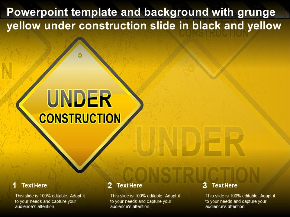 Powerpoint Template And Background With Grunge Yellow Under Construction Slide In Black And Yellow