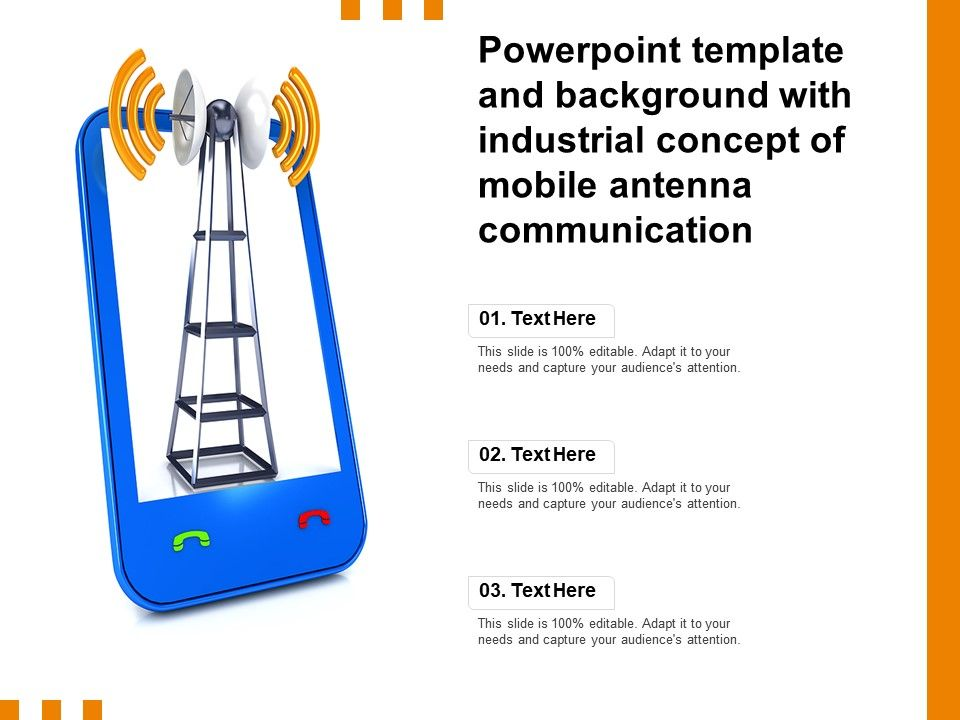 Powerpoint Template And Background With Industrial Concept Of Mobile Antenna Communication