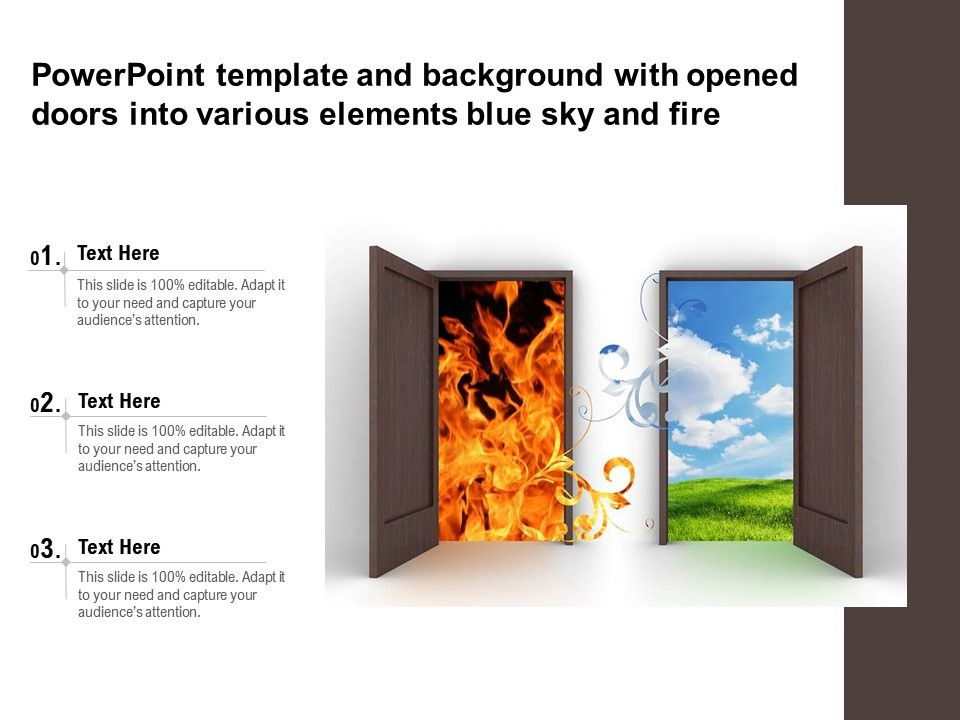 Powerpoint Template And Background With Opened Doors Into Various Elements Blue Sky And Fire