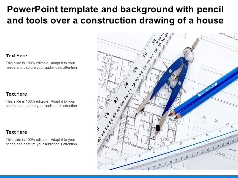 Powerpoint Template And Background With Pencil And Tools Over A Construction Drawing Of A House
