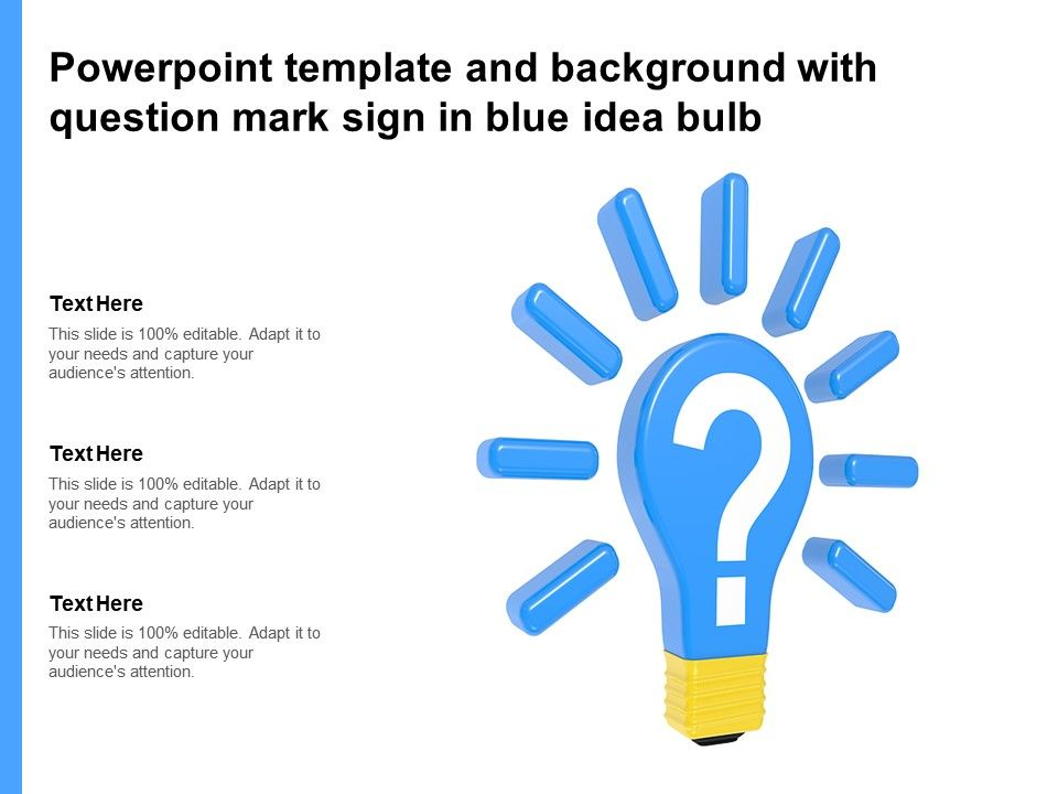 Powerpoint Template And Background With Question Mark Sign In Blue Idea Bulb