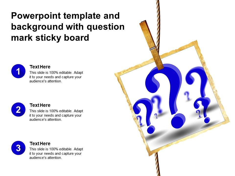 Powerpoint Template And Background With Question Mark Sticky Board