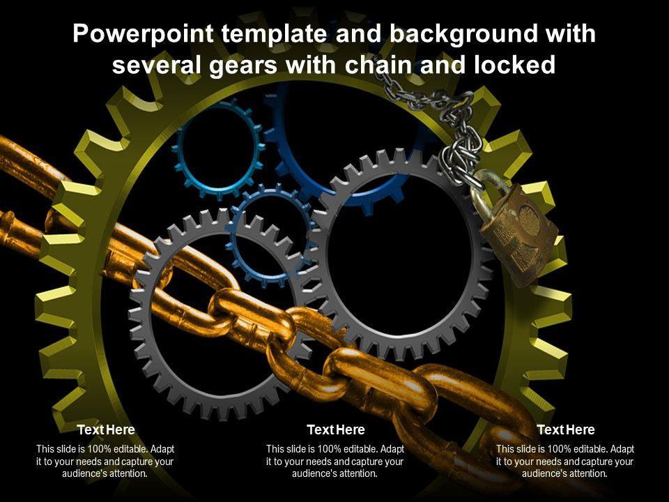 Powerpoint Template And Background With Several Gears With Chain And Locked