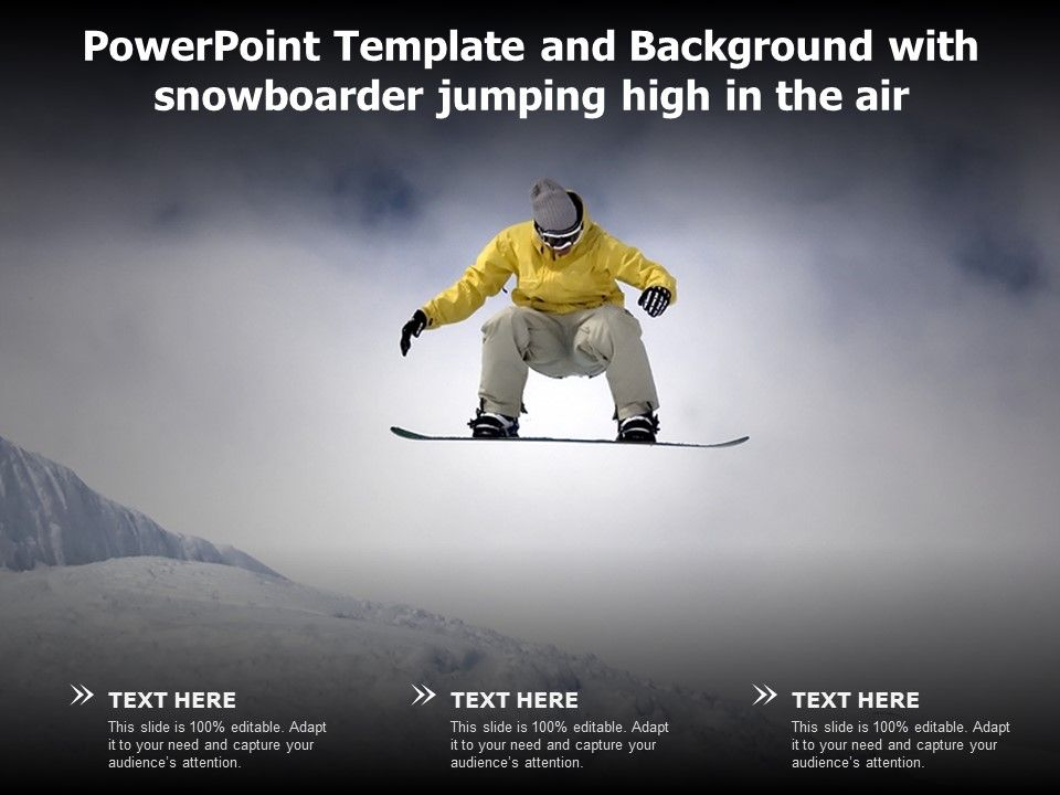 Powerpoint Template And Background With Snowboarder Jumping High In The Air