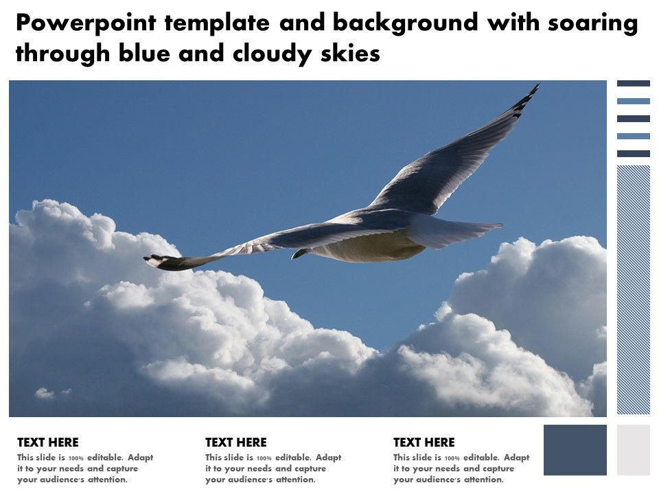 Powerpoint Template And Background With Soaring Through Blue And Cloudy Skies