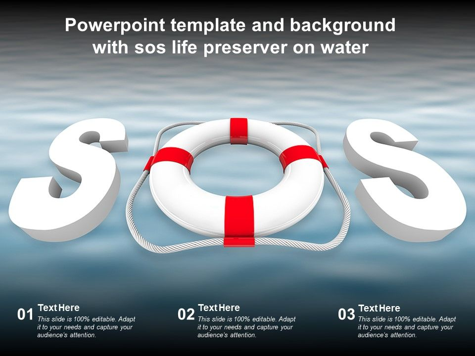 Powerpoint Template And Background With Sos Life Preserver On Water