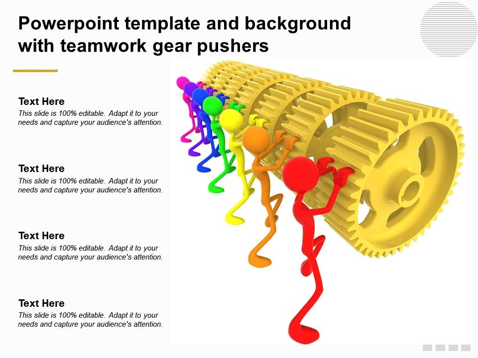 Powerpoint Template And Background With Teamwork Gear Pushers