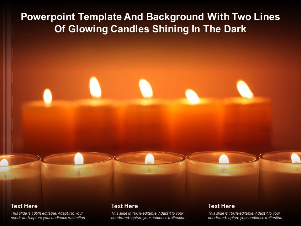 Powerpoint Template And Background With Two Lines Of Glowing Candles Shining In The Dark Presentation Graphics Presentation Powerpoint Example Slide Templates