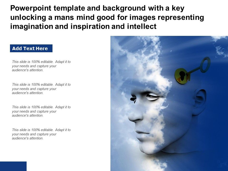 Powerpoint Template With A Key Unlocking A Humans Mind For Imagination Inspiration And Intellect