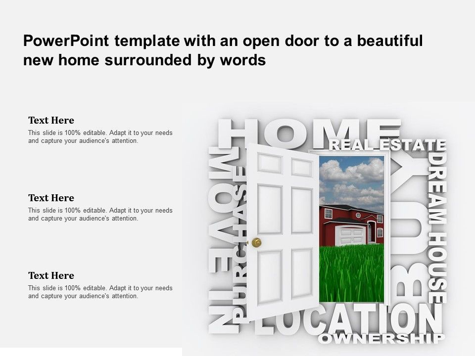 Powerpoint Template With An Open Door To A Beautiful New Home Surrounded By Words