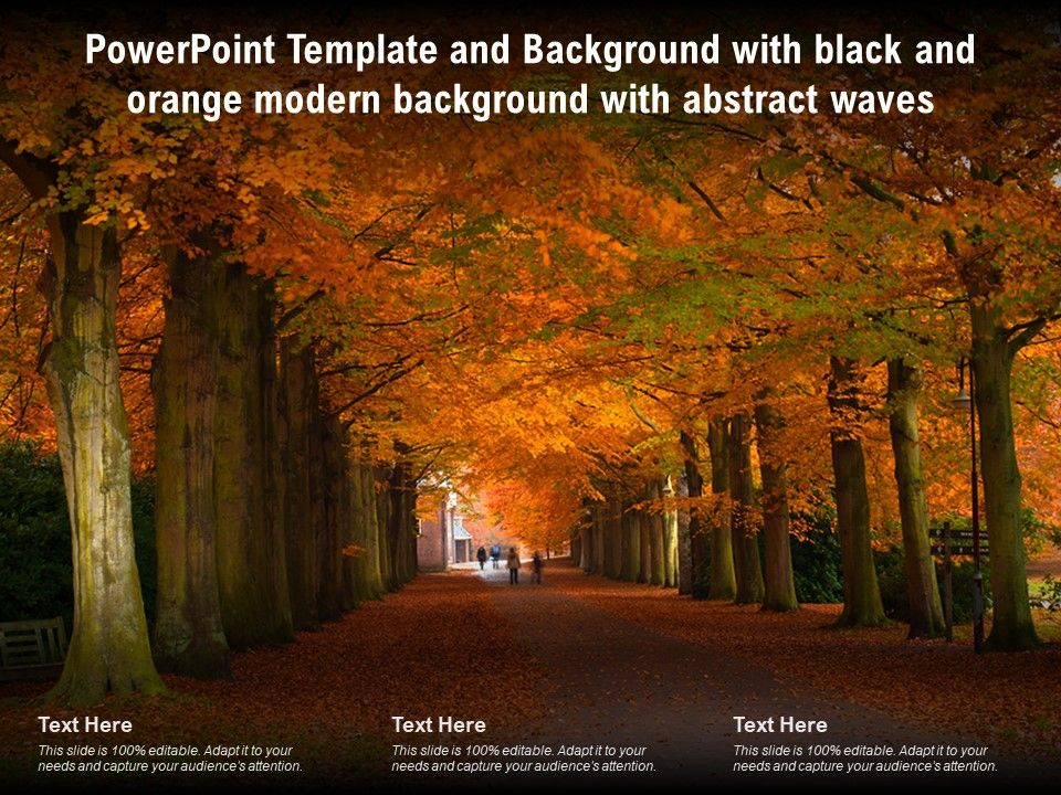 Powerpoint Template With Black And Orange Modern Background With Abstract Waves Presentation Graphics Presentation Powerpoint Example Slide Templates