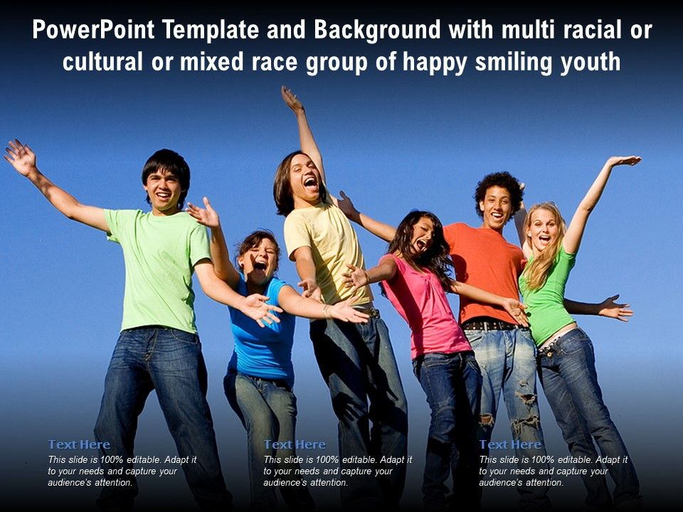 Powerpoint Template With Multi Racial Or Cultural Or Mixed Race Group Of Happy Smiling Youth Presentation Graphics Presentation Powerpoint Example Slide Templates