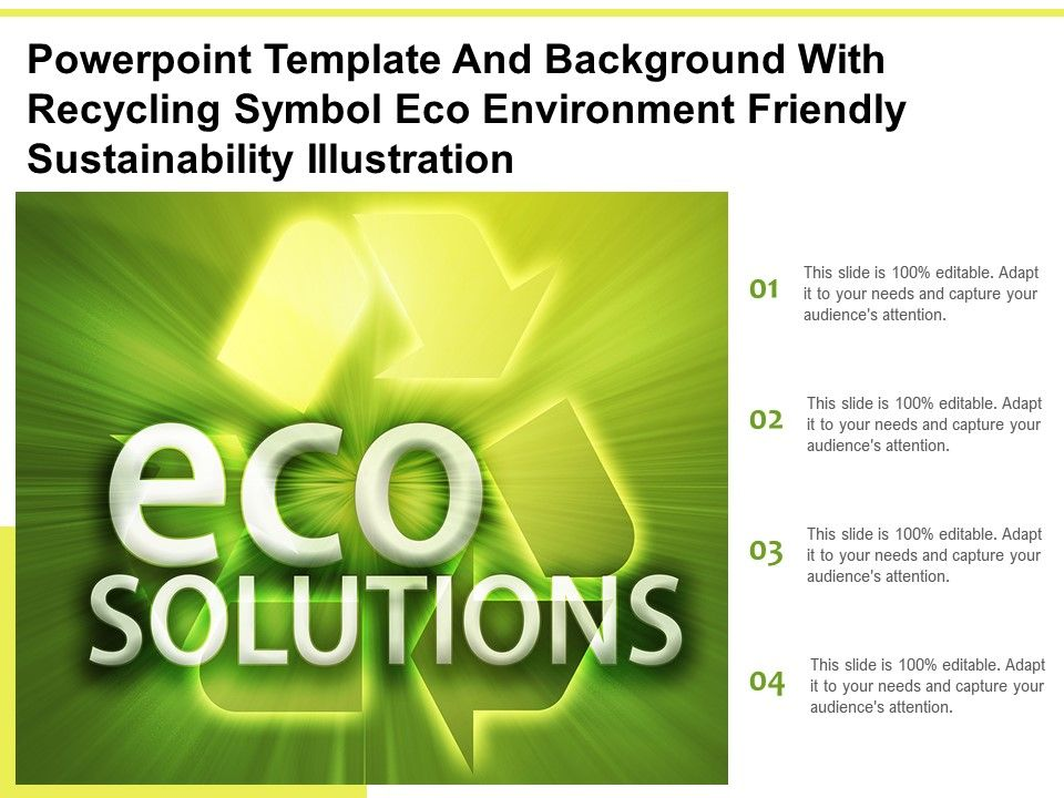 Powerpoint Template With Recycling Symbol Eco Environment Friendly Sustainability Illustration
