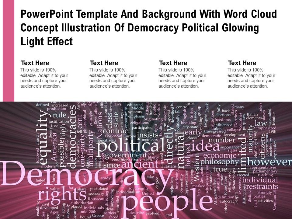 Powerpoint Template With Word Cloud Concept Illustration Of Democracy Political Glowing Light Effect