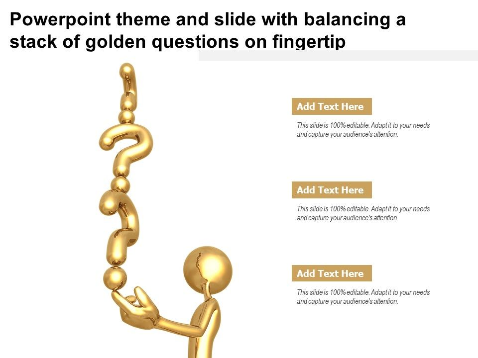 Powerpoint Theme And Slide With Balancing A Stack Of Golden Questions On Fingertip