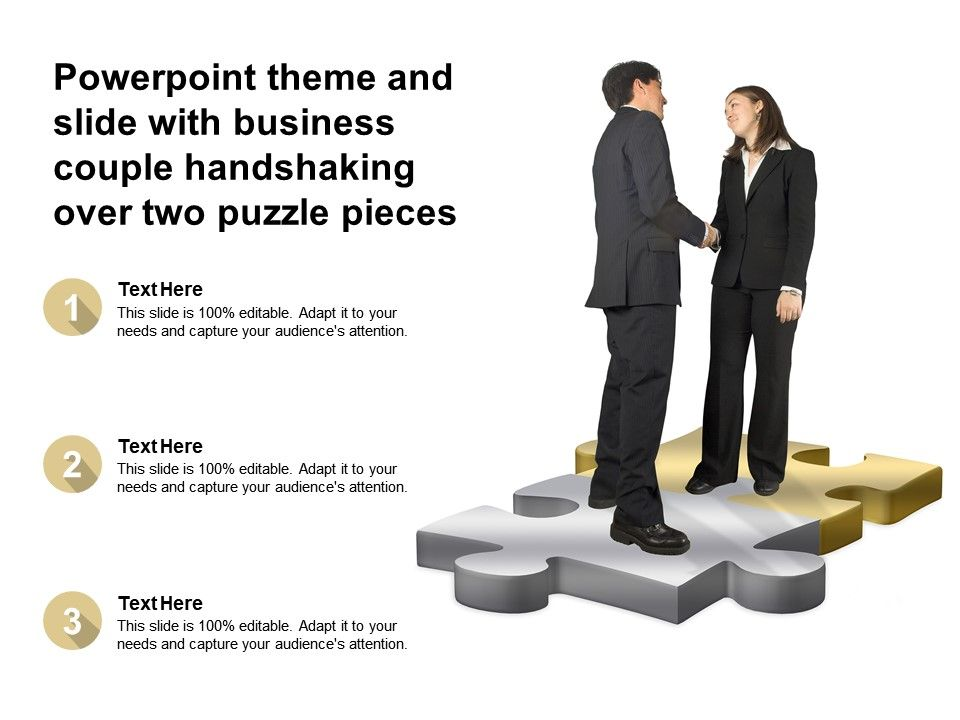 Powerpoint Theme And Slide With Business Couple Handshaking Over Two Puzzle Pieces