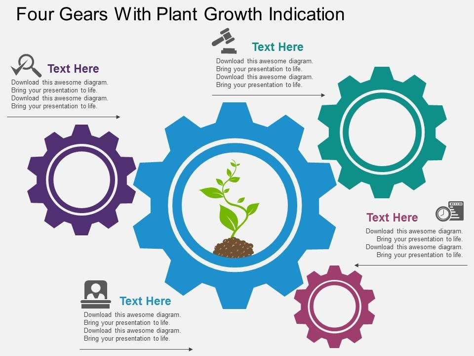 pp_four_gears_with_plant_growth_indication_flat_powerpoint_design_Slide01