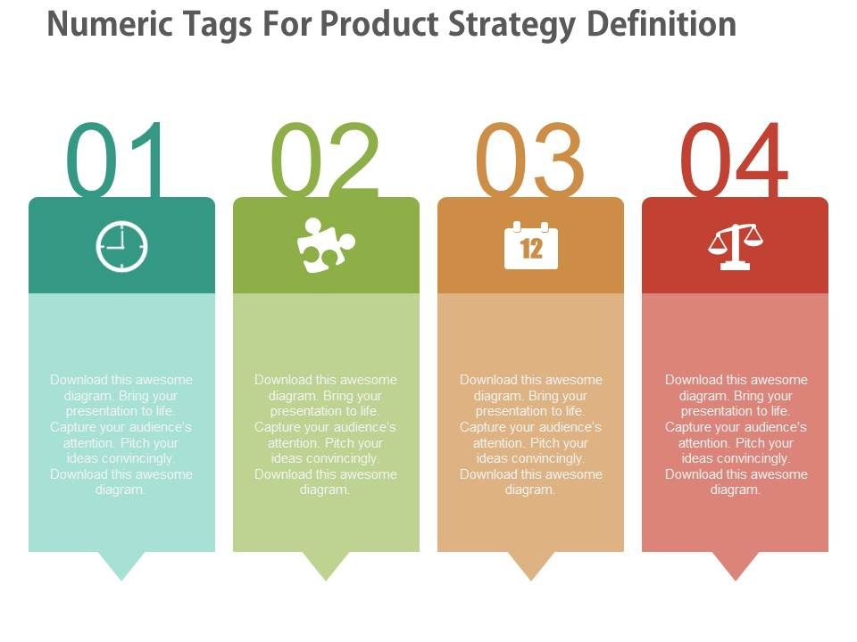 ppt Four Numeric Tags For Product Strategy Definition Flat ...