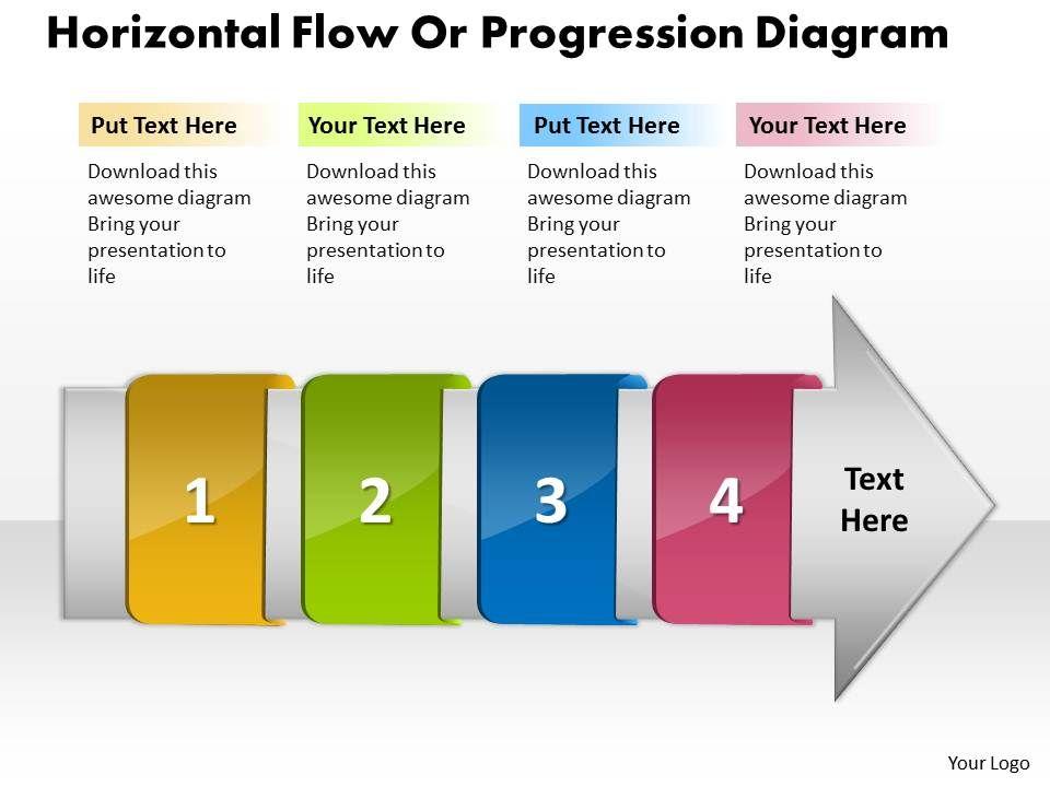 PPT horizontal flow progression network diagram powerpoint ...