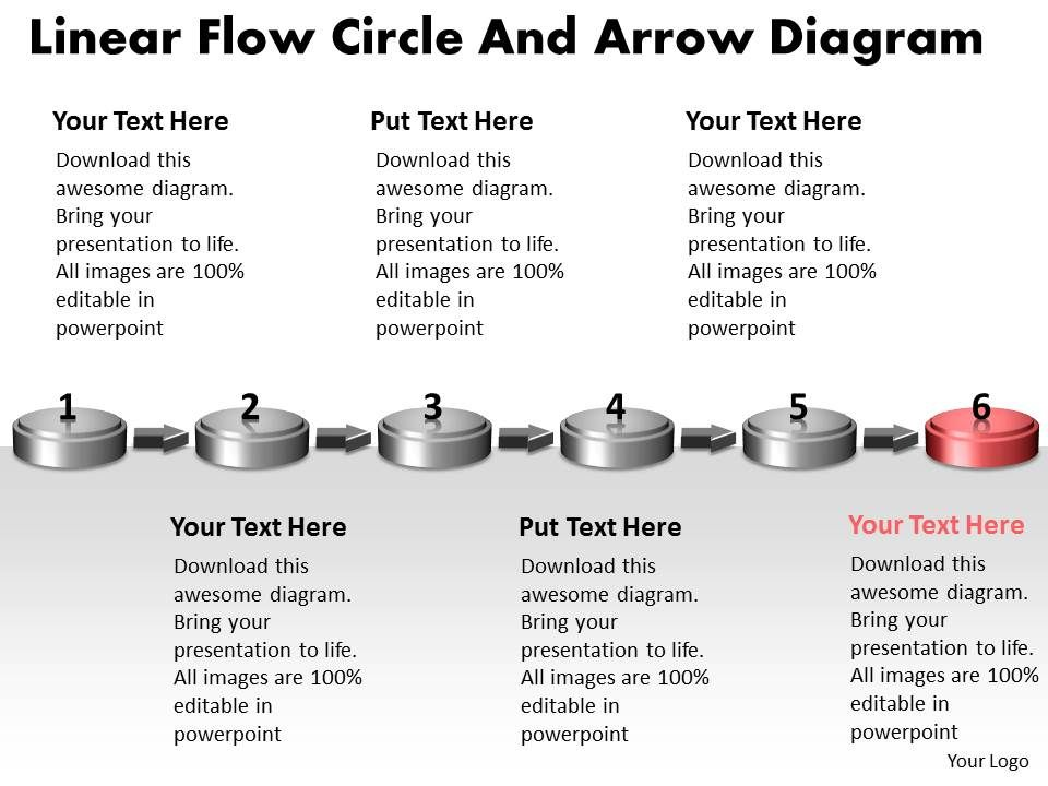 ppt linear flow circle and arrow ishikawa diagram powerpoint, Modern powerpoint