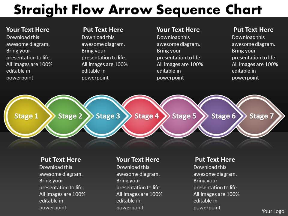 Ppt Straight Flow Arrow Sequence Family Tree Chart Powerpoint 2003