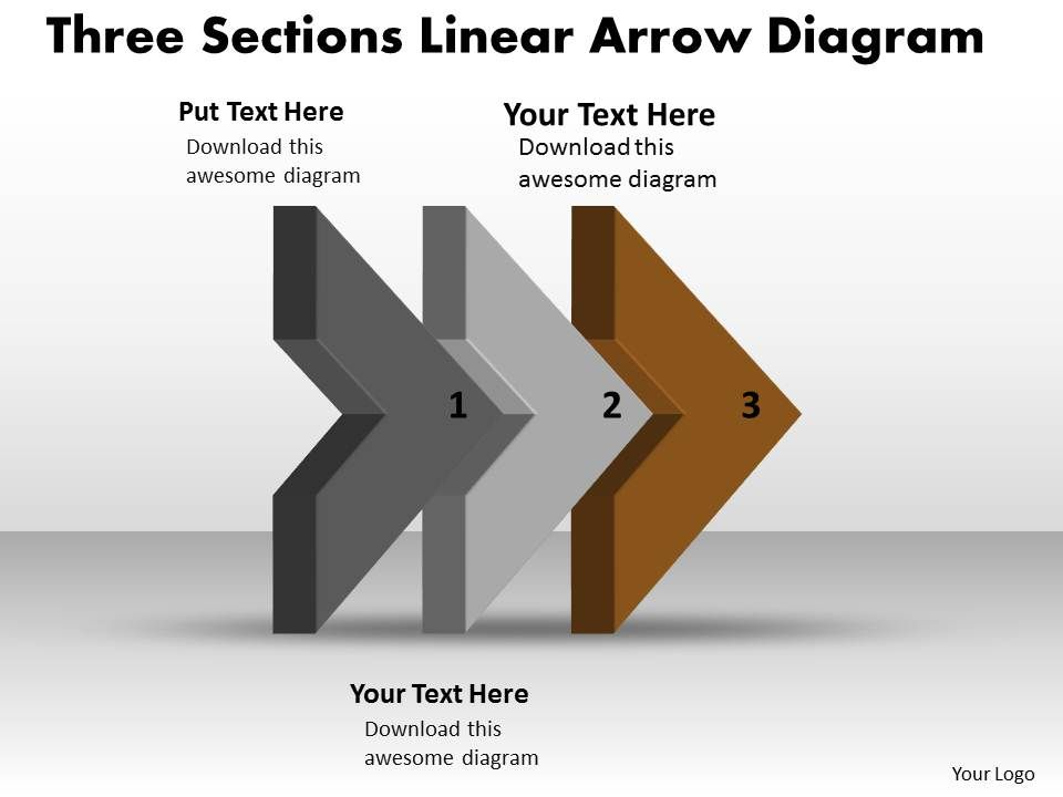 Ppt Three Sections Linear Arrow Spider Diagram Powerpoint Template