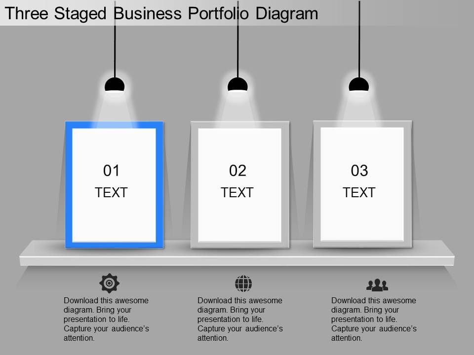 ppt three staged business portfolio diagram powerpoint template. Black Bedroom Furniture Sets. Home Design Ideas