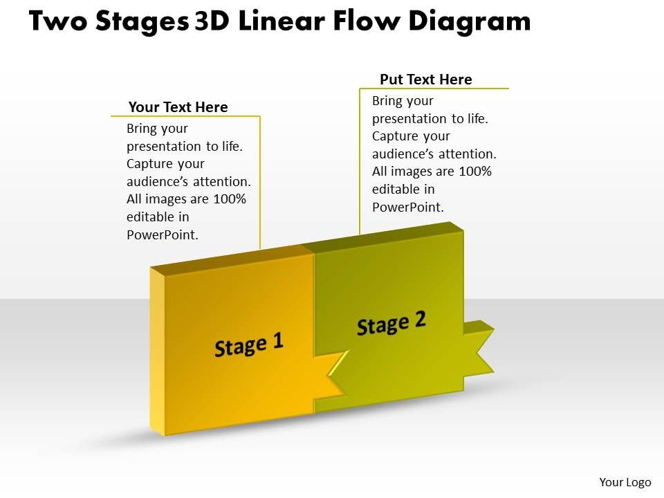 Ppt Two Stage 3d Linear Flow Swim Lane Diagram Powerpoint Template
