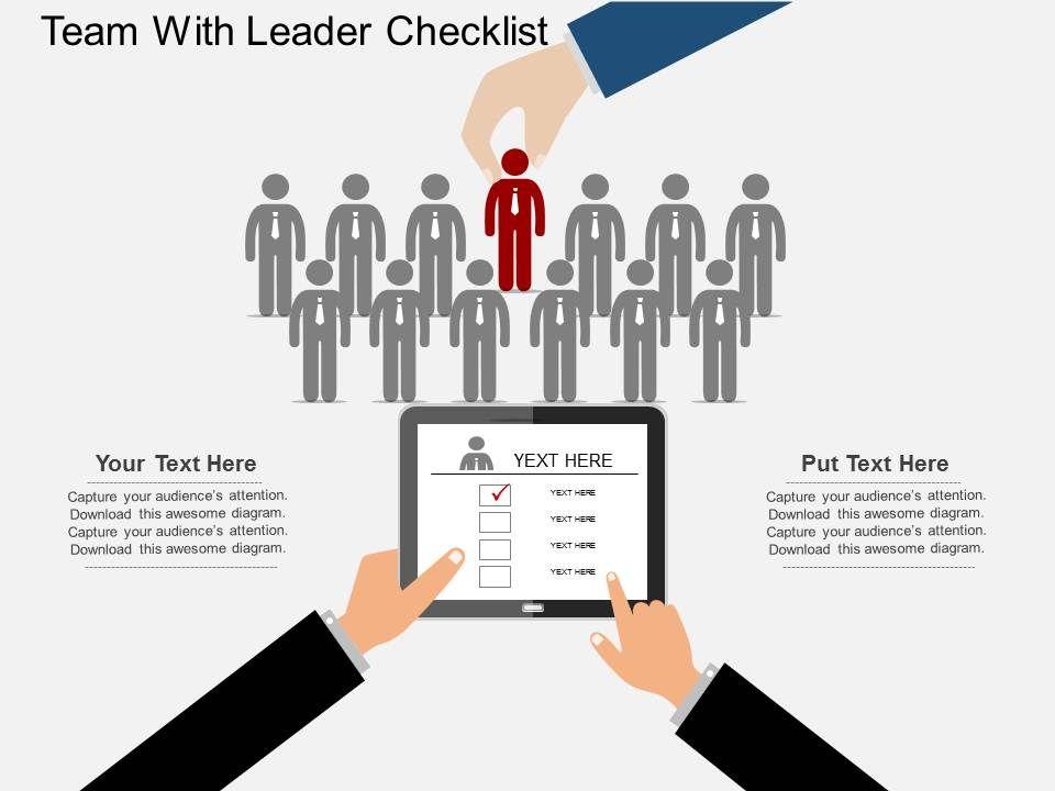 ppts_team_with_leader_checklist_flat_powerpoint_design_Slide01