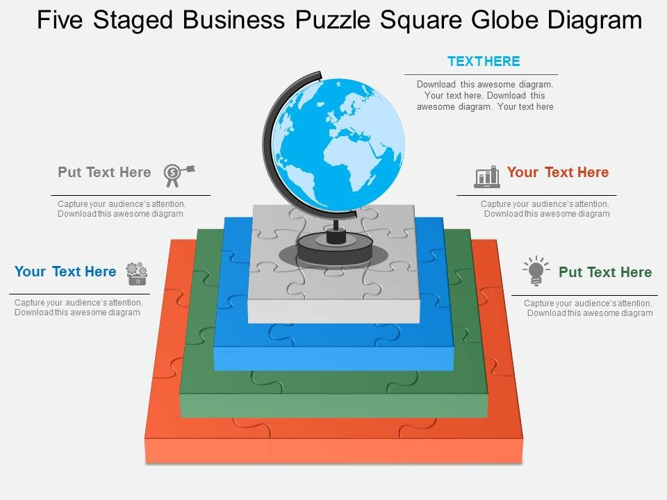 pptx Five Staged Business Puzzle Square Globe Diagram Flat ...