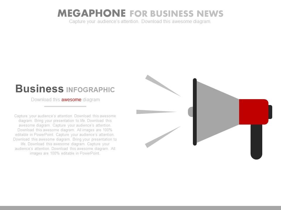 pptx_megaphone_for_business_news_and_offers_announcement_flat_powerpoint_design_Slide01
