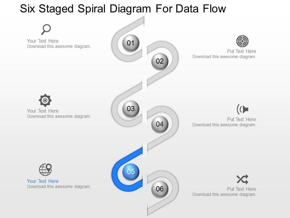 pr Six Staged Spiral Diagram For Data Flow Powerpoint ...