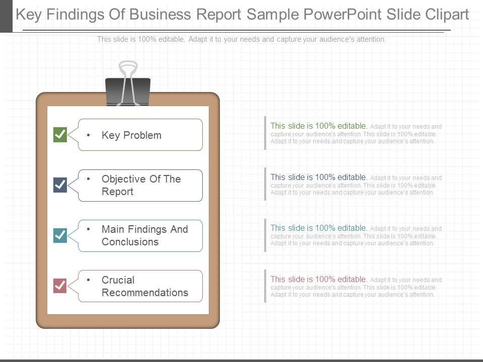 Present Key Findings Of Business Report Sample Powerpoint Slide