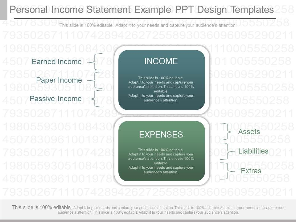Present Personal Income Statement Example Ppt Design