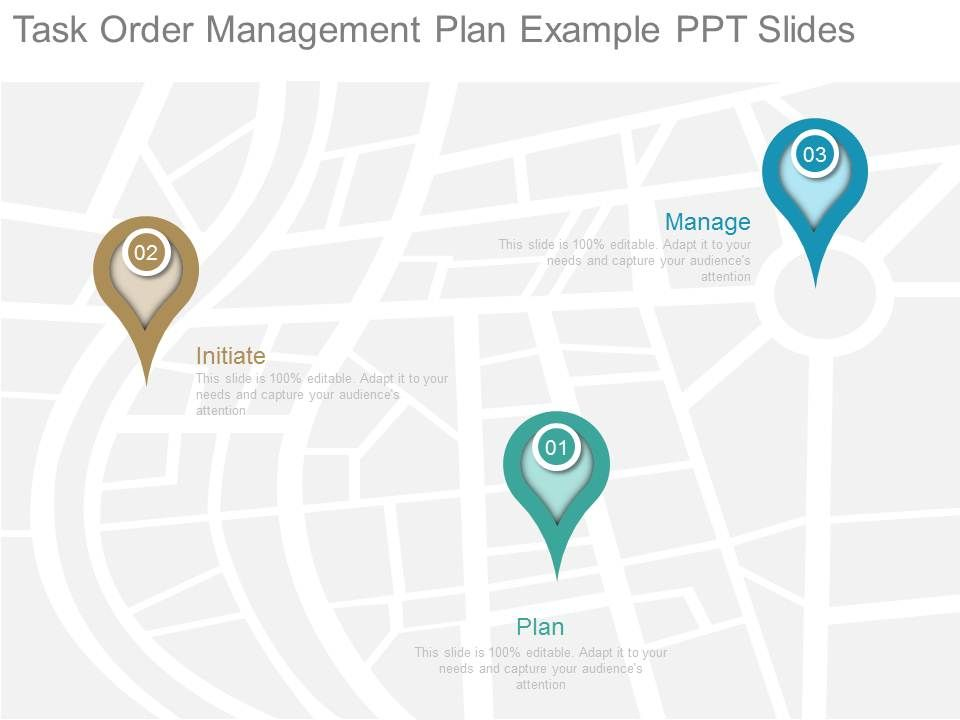 Present task order management plan example ppt slides for Task order management plan template