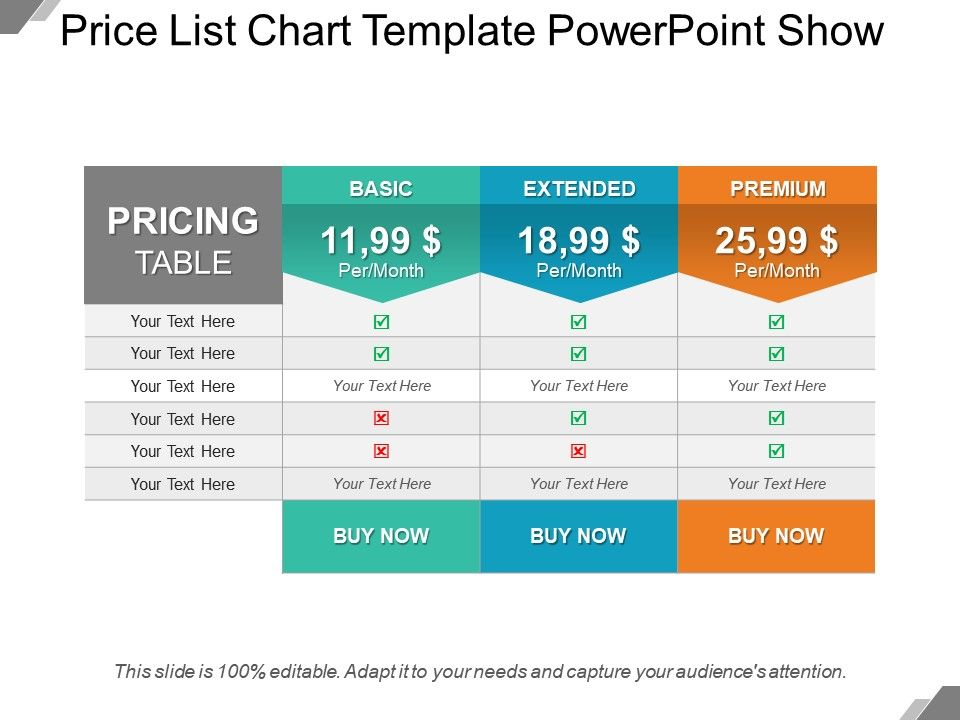 Price List Chart Template Point Show Slide01 Slide02 Slide03