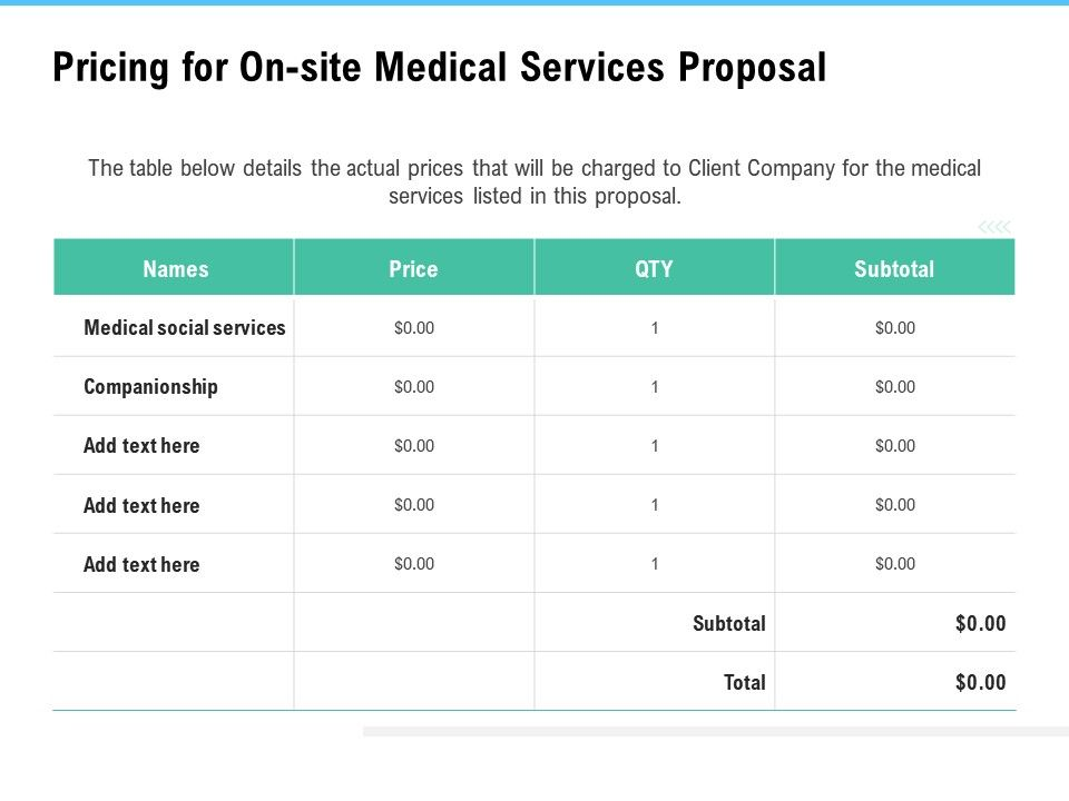 Pricing For On Site Medical Services Proposal Ppt Powerpoint Inspiration
