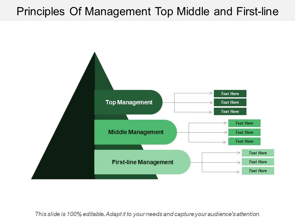 Principles Of Management Top Middle And First Line   PowerPoint