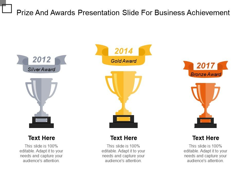 Prize And Awards Presentation Slide For Business Achievement Ppt